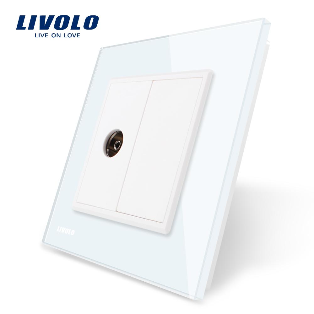Priza simpla TV Livolo cu rama din sticla imagine case-smart.ro 2021