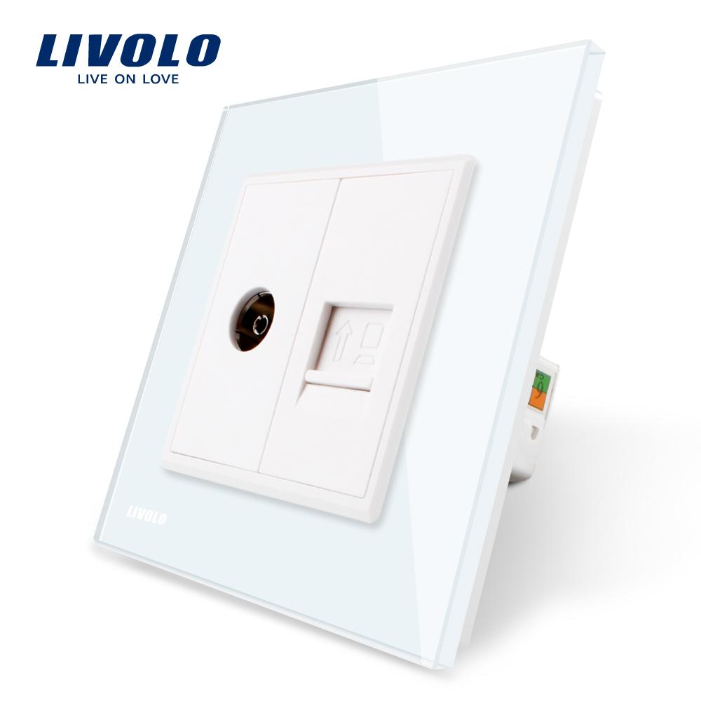 Priza dubla TV + priza internet Livolo cu rama din sticla imagine case-smart.ro 2021