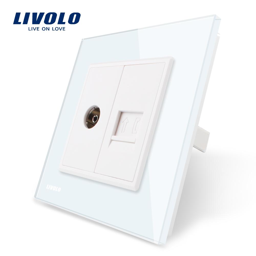 Priza dubla TV + Telefon Livolo cu rama din sticla imagine case-smart.ro 2021