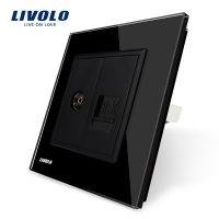 Priza dubla TV + Telefon Livolo cu rama din sticla culoare neagra