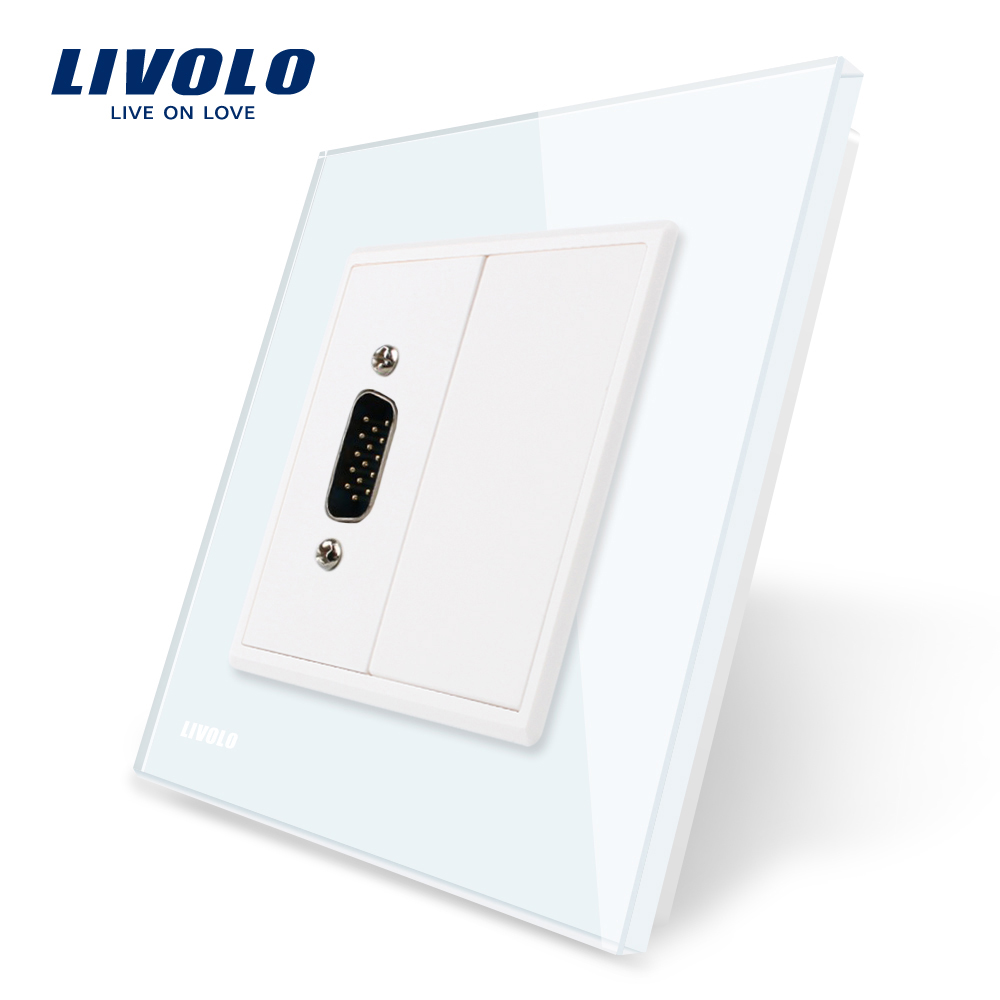 Priza cu mufa VGA tata 15 pini Livolo cu rama din sticla imagine case-smart.ro 2021