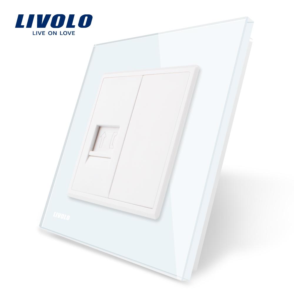 Priza simpla Telefon Livolo cu rama din sticla imagine case-smart.ro 2021