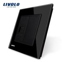 Priza simpla Telefon Livolo cu rama din sticla culoare neagra