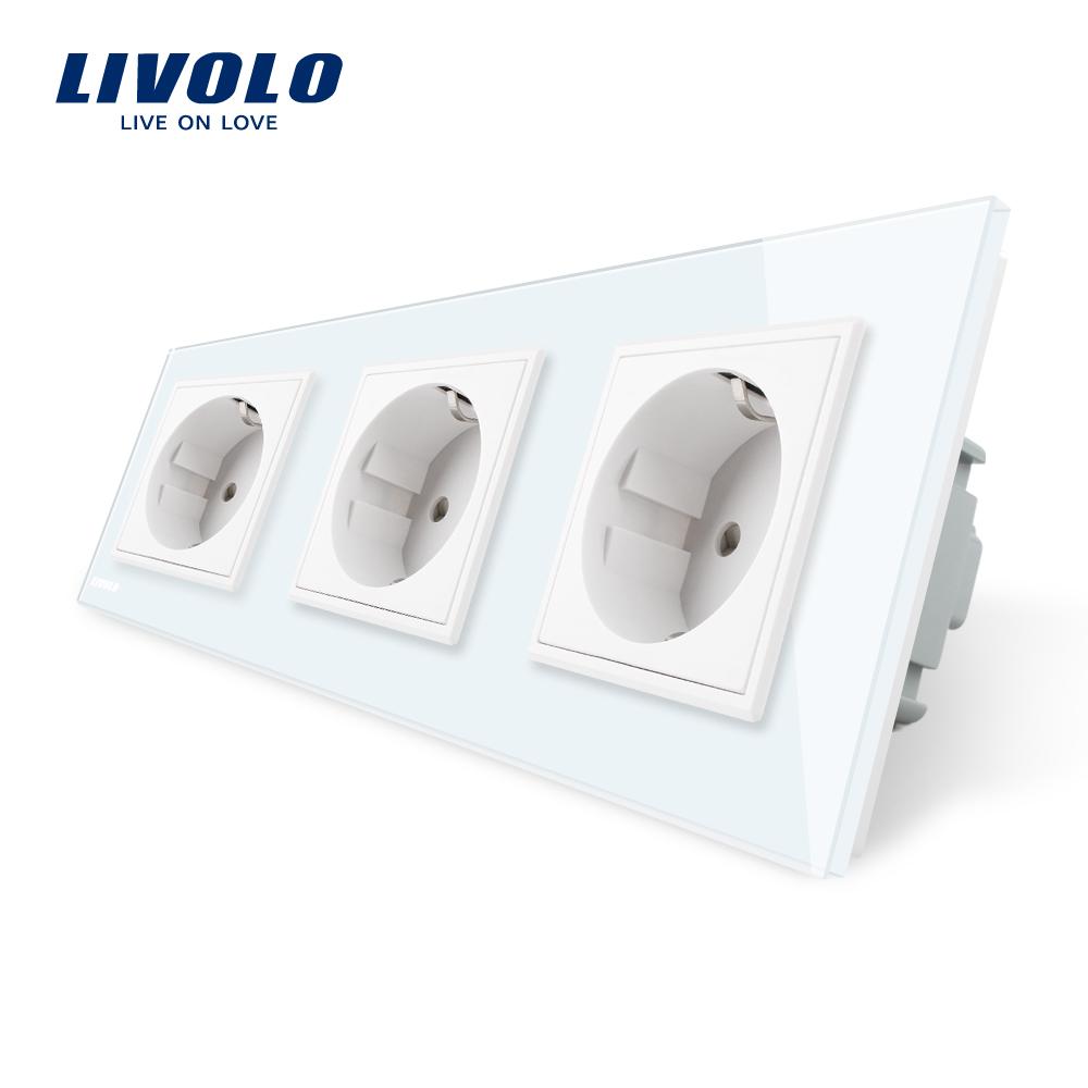 Priza tripla Livolo cu rama din sticla imagine case-smart.ro 2021