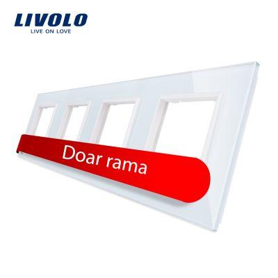 Rama priza cvadrupla Livolo din sticla