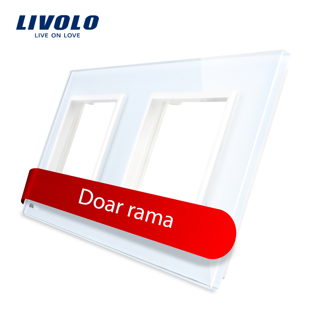 Rama priza dubla Livolo din sticla imagine case-smart.ro 2021