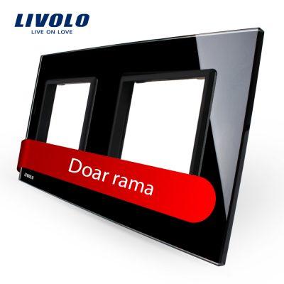 Rama priza dubla Livolo din sticla culoare neagra