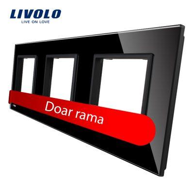 Rama priza tripla Livolo din sticla culoare neagra