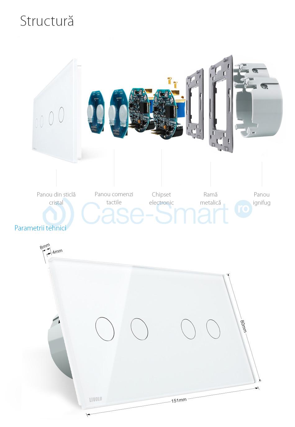 Intrerupator dublu + dublu cu touch Wireless Livolo din sticla