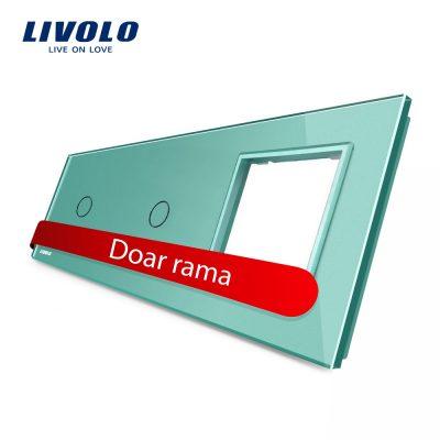Panou 2 intrerupatoare simple cu touch si priza Livolo din sticla culoare verde