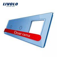 Panou 2 intrerupatoare simple cu touch si priza Livolo din sticla culoare albastra