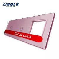 Panou 2 intrerupatoare simple cu touch si priza Livolo din sticla culoare roz