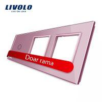 Panou intrerupator simplu cu touch si 2 prize Livolo din sticla culoare roz