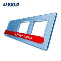 Panou intrerupator simplu cu touch si 2 prize Livolo din sticla culoare albastra