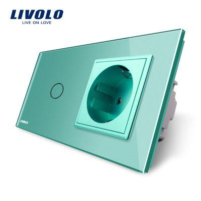 Intrerupator simplu + priza simpla Livolo rama din sticla culoare verde