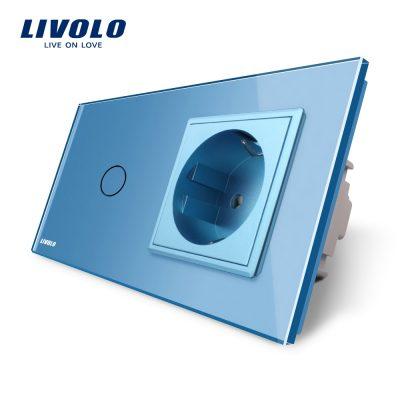Intrerupator simplu + priza simpla Livolo rama din sticla culoare albastra