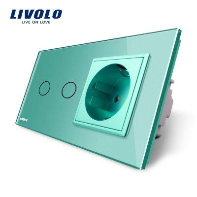 Intrerupator dublu cap scara / cap cruce + priza simpla Livolo rama din sticla culoare verde