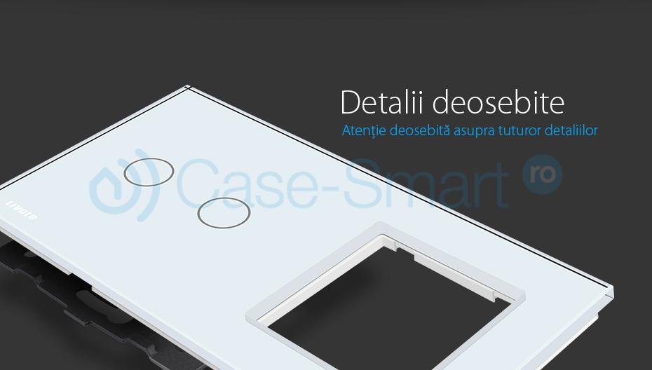 Intrerupator dublu cap scara / cap cruce + priza simpla Livolo rama din sticla
