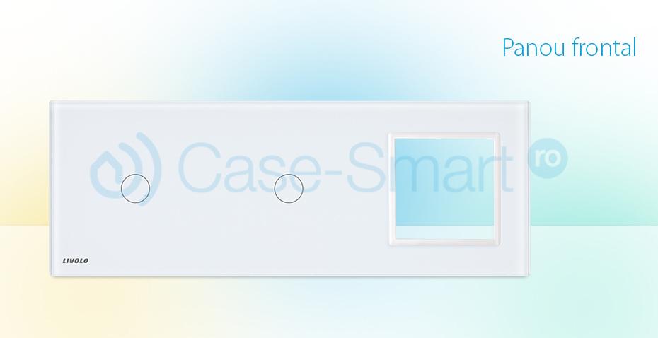 Panou 2 intrerupatoare simple cu touch si priza Livolo din sticla