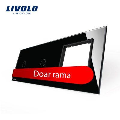 Panou 2 intrerupatoare simple cu touch si priza Livolo din sticla culoare neagra