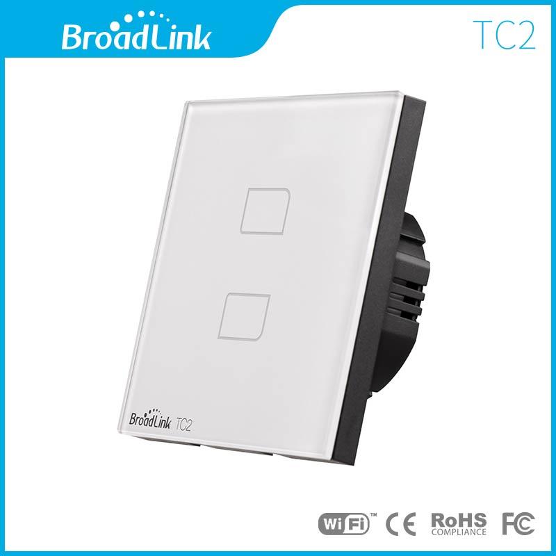 Intrerupator inteligent BroadLink dublu wireless din sticla cu touch imagine case-smart.ro 2021