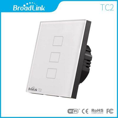 Intrerupator inteligent triplu wireless BroadLink din sticla cu touch