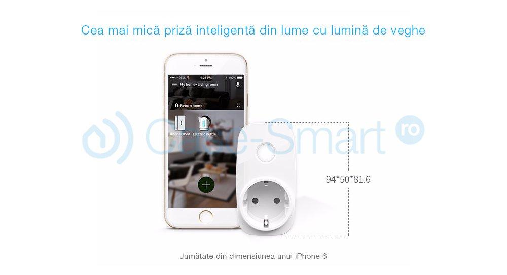 Priza inteligenta programabila BroadLink SP3S Wi-Fi cu monitor energie – model 2018