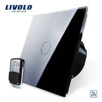 Intrerupator LIVOLO simplu wireless cu touch si telecomanda inclusa culoare neagra