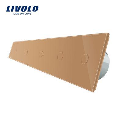 Intrerupator LIVOLO cu touch din sticla cu 5 intrerupatoare simple culoare aurie