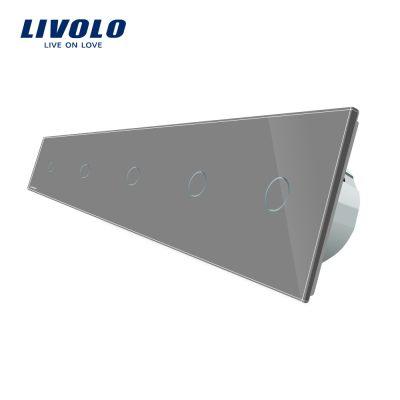 Intrerupator LIVOLO cu touch din sticla cu 5 intrerupatoare simple culoare gri