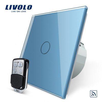 Intrerupator LIVOLO simplu wireless cu touch si telecomanda inclusa culoare albastra