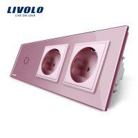 Intrerupator LIVOLO simplu cap scara / cap cruce cu touch si 2 prize din sticla culoare roz