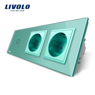 Intrerupator LIVOLO simplu cap scara / cap cruce cu touch si 2 prize din sticla culoare verde