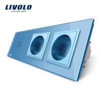 Intrerupator LIVOLO simplu cap scara / cap cruce cu touch si 2 prize din sticla culoare albastra