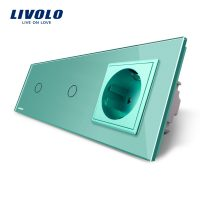 Intrerupator LIVOLO simplu+simplu cu touch si priza din sticla culoare verde