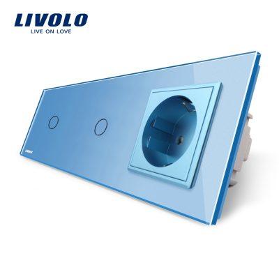 Intrerupator LIVOLO simplu+simplu cu touch si priza din sticla culoare albastra