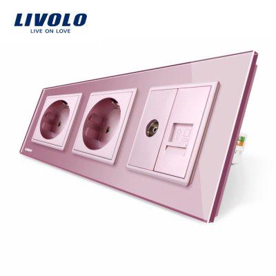 Priza tripla Livolo cu rama din sticla 2 prize simple+TV/internet culoare roz