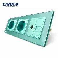 Priza tripla Livolo cu rama din sticla 2 prize simple+TV/internet culoare verde