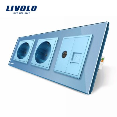 Priza tripla Livolo cu rama din sticla 2 prize simple+TV/internet culoare albastra