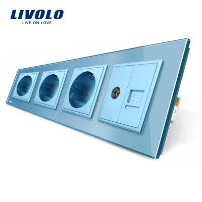 Priza cvadrupla Livolo cu rama din sticla 3 prize simple+TV/internet culoare albastra