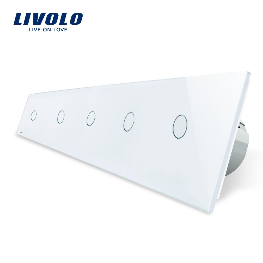 Intrerupator LIVOLO cu touch din sticla cu 5 intrerupatoare simple imagine case-smart.ro 2021