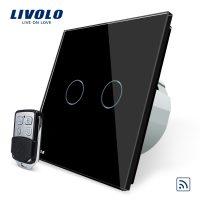 Intrerupator LIVOLO cu touch dublu wireless telecomanda inclusa culoare neagra