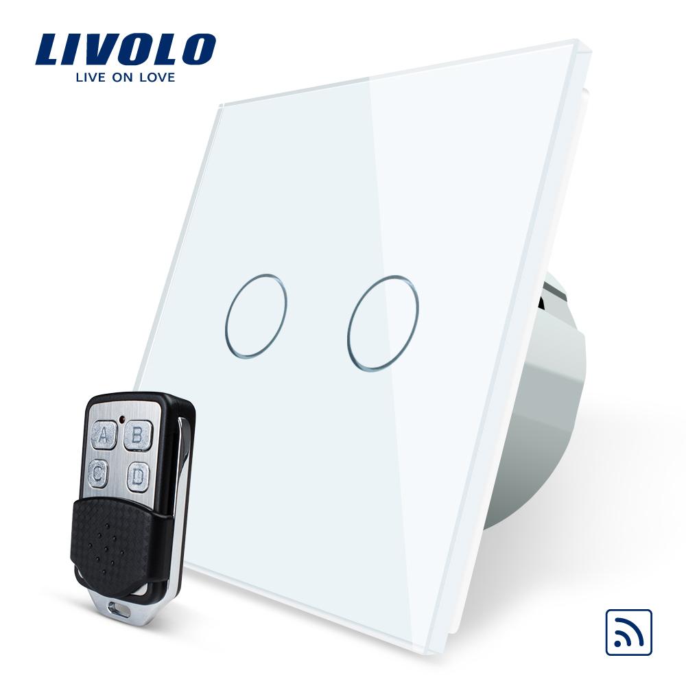 Intrerupator LIVOLO cu touch dublu wireless telecomanda inclusa imagine case-smart.ro 2021