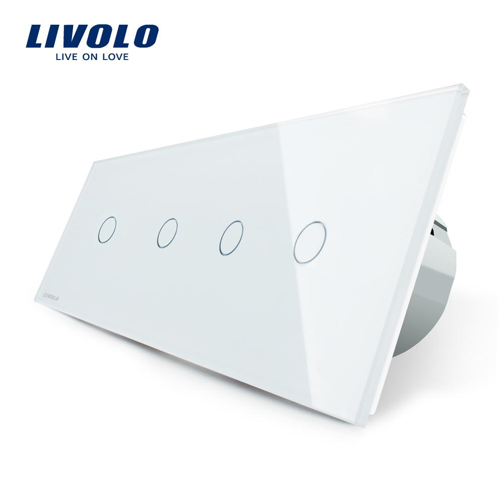 Intrerupator LIVOLO cu touch din sticla cu 4 intrerupatoare simple imagine case-smart.ro 2021