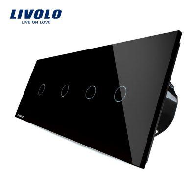 Intrerupator LIVOLO cu touch din sticla cu 4 intrerupatoare simple culoare neagra