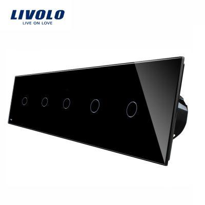 Intrerupator LIVOLO cu touch din sticla cu 5 intrerupatoare simple culoare neagra
