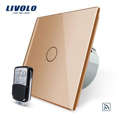 Intrerupator LIVOLO simplu wireless cu touch si telecomanda inclusa culoare aurie