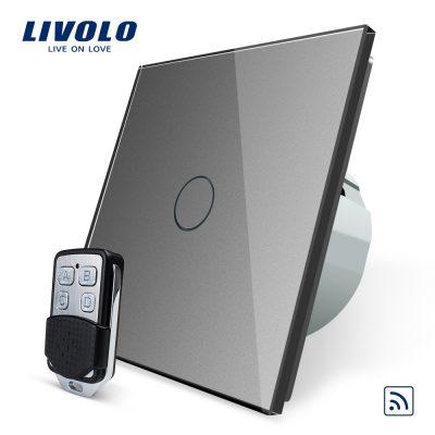 Intrerupator LIVOLO simplu wireless cu touch si telecomanda inclusa culoare gri