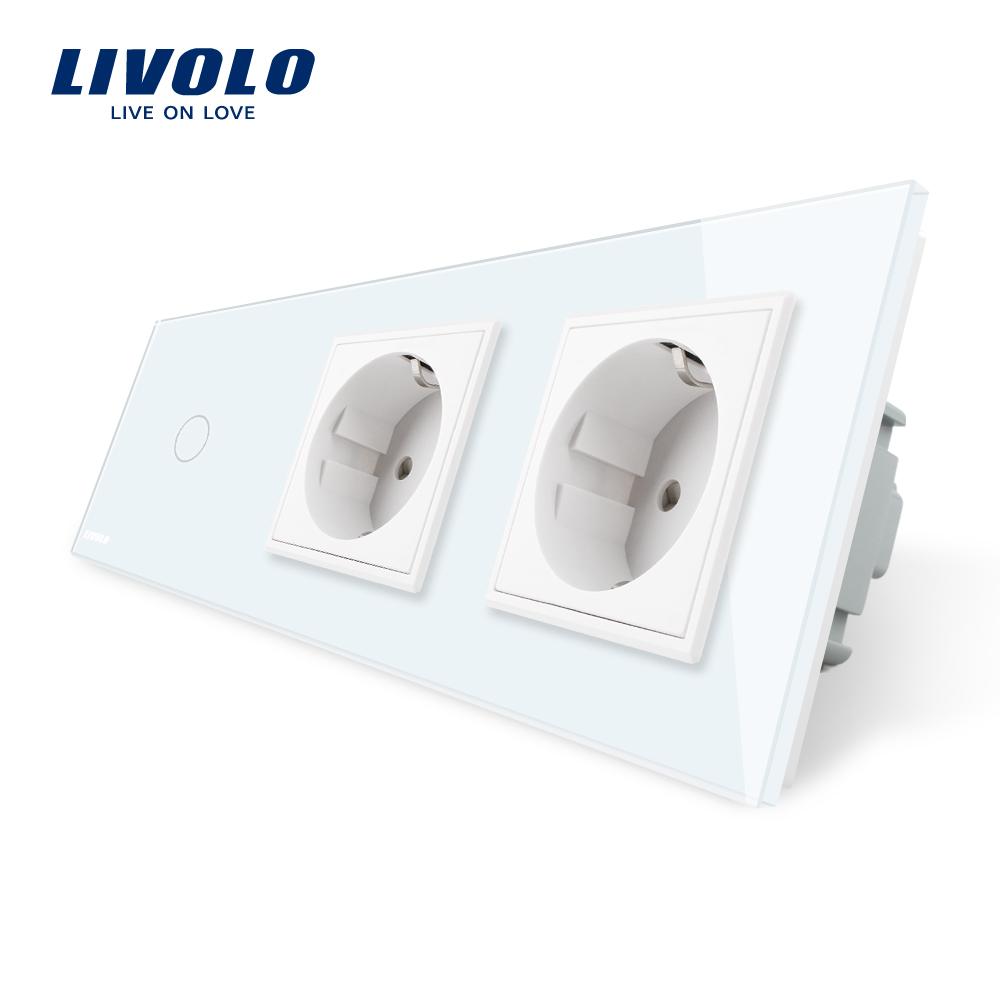 Intrerupator LIVOLO simplu cap scara / cap cruce cu touch si 2 prize din sticla