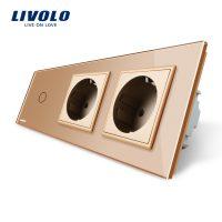 Intrerupator LIVOLO simplu cap scara / cap cruce cu touch si 2 prize din sticla culoare aurie